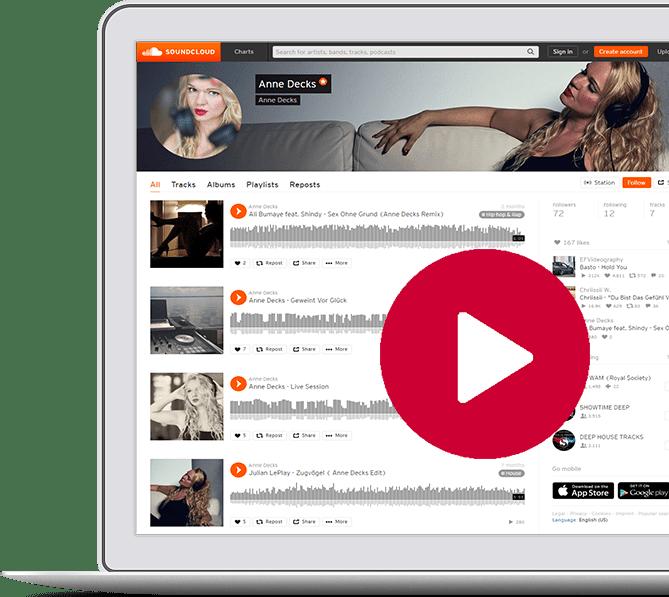 Laptop mit Soundcloud Profil von DJ Anne Decks